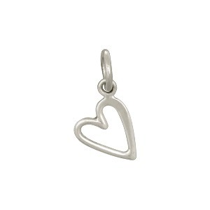 Sterling Silver Open Heart Charm - Small 14x7mm