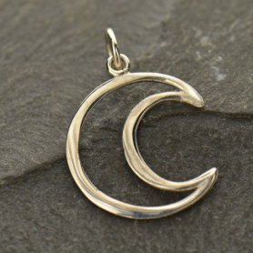 Sterling Silver Wire Crescent Moon Charm 22x14mm