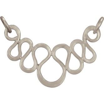 Jewelry Supplies - Serpentine Festoon Silver Pendant 18x25mm