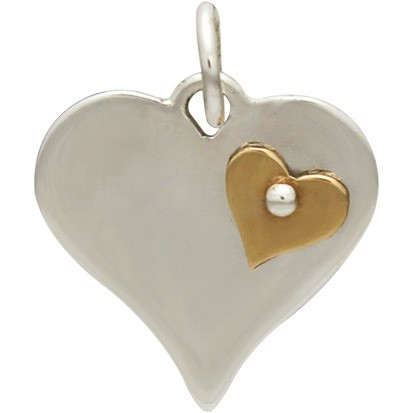 Silver Heart Pendant with Riveted Bronze Heart 18x14mm