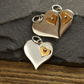 Sterling Silver Heart Pendant with Riveted Bronze Heart