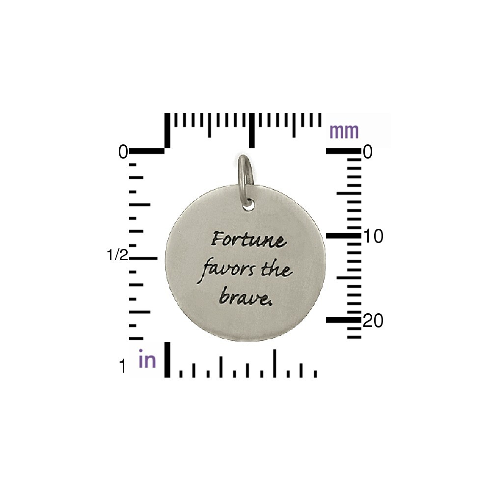 Sterling Silver Message Pendant - Fortune Favors the Brave