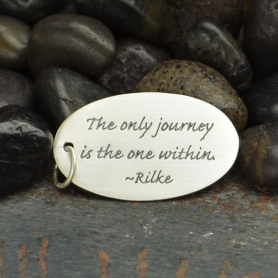Sterling Silver Oval Message Pendant - Rilke Quote 30x16mm