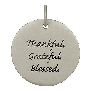 Sterling Silver Message Pendant - Thankful Grateful Blessed
