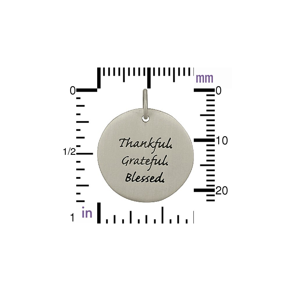 Silver Message Pendant - Thankful Grateful Blessed 22x19mm