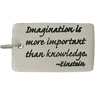 Silver Rectangle Message Pendant - Einstein Quote 27x13mm