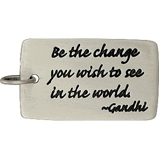Sterling Silver Message Pendant - Gandhi Quote 28x14mm