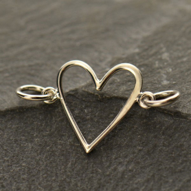 Jewelry Supplies - Wire Heart Silver Links