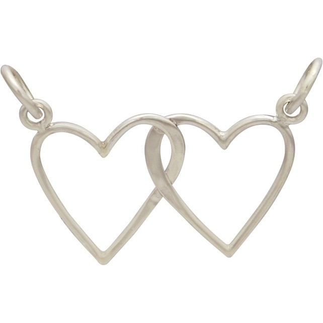 Sterling Silver Intertwined Heart Pendant Festoon 17x24mm