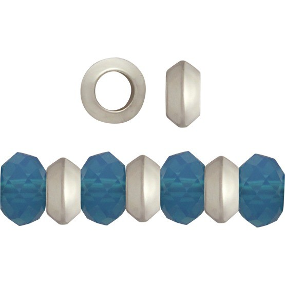 Sterling Silver Spacer Beads - Large Hole Spacer 5x3mm
