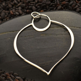 Sterling Silver Lotus Petal Pendant - Openwork 38x30mm