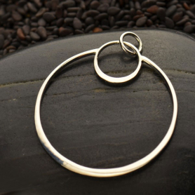 Sterling Silver Circle Pendant - Openwork Eclipse 34x28mm