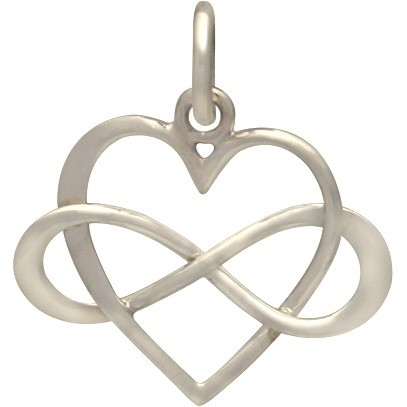 Sterling Silver Infinity Heart Pendant 18x16mm