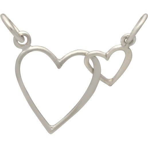 Sterling Silver Big and Little Heart Pendant Festoon 13x32mm