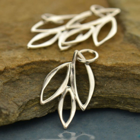 Sterling Silver Marquis Charm -Small Abstract Leaves 22x12mm