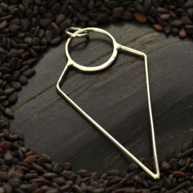 Sterling Silver Geometric Pendant -Wirework Triangle 44x20mm