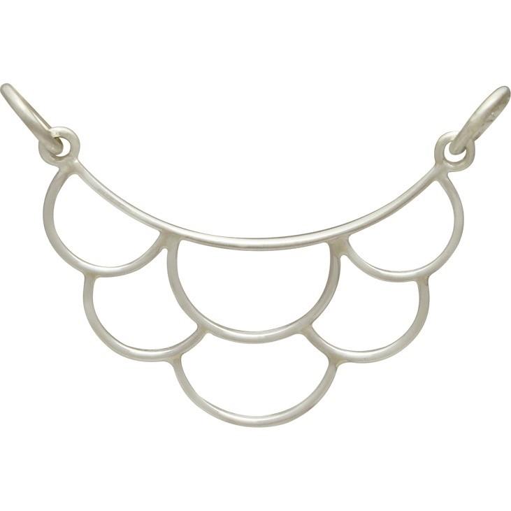Jewelry Supplies - Medium Scallop Festoon Silver Pendant