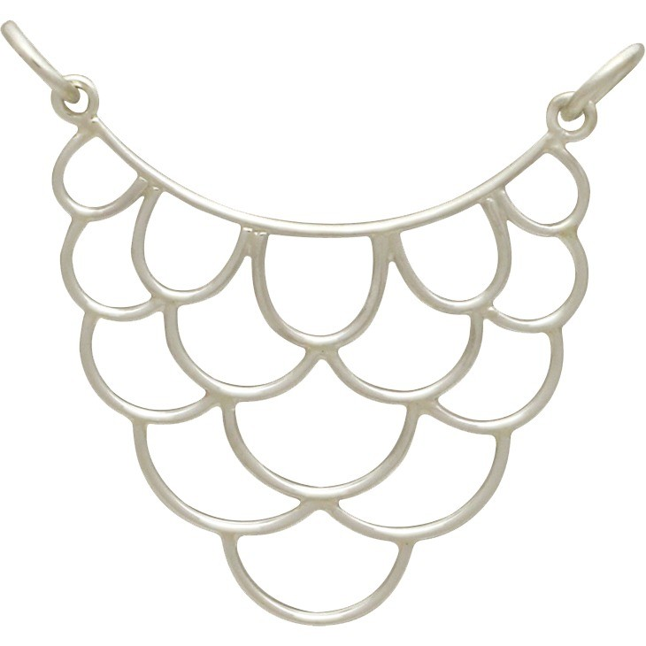 Sterling Silver Large Scallop Pendant Festoon 30x26mm