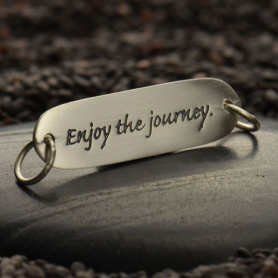 Silver Message Pendant Link - Enjoy the Journey 35x27mm
