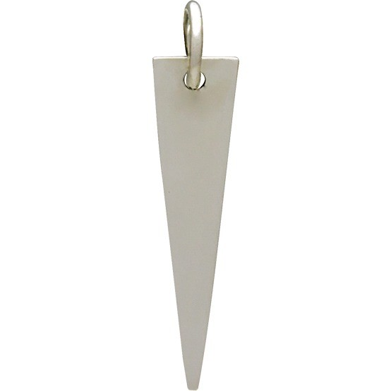 Sterling Silver Long Triangle Pendant 24x5mm