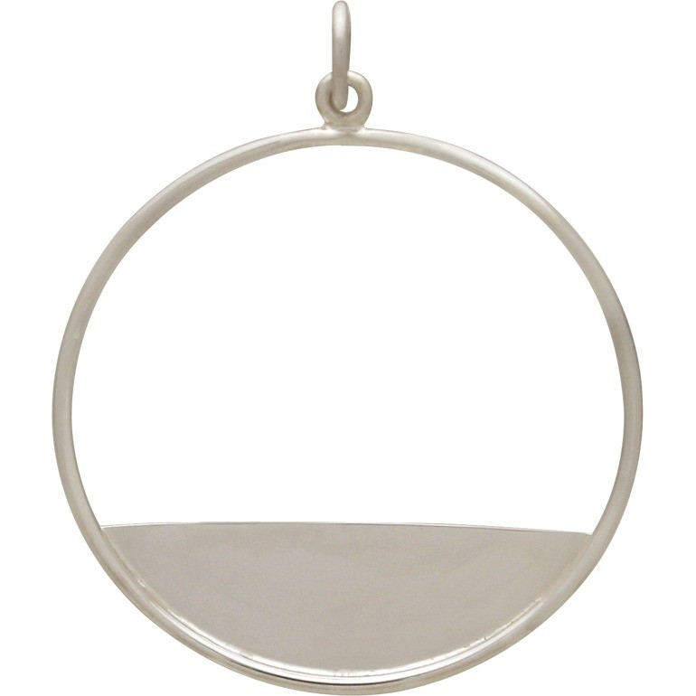 Sterling Silver Circle Pendant with Flat Plate Edge 34x28mm