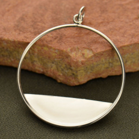 Sterling Silver Circle Pendant with Flat Plate Edge