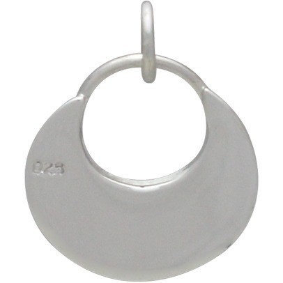 Sterling Silver Small Circle Charm - Flat Plate 18x14mm
