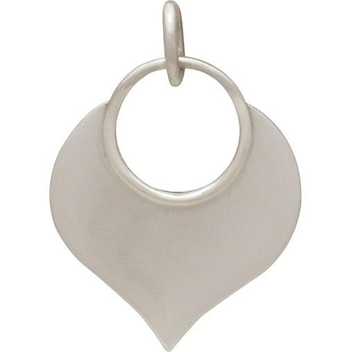 Sterling Silver Lotus Petal Pendant - Flat Plate 22x15mm