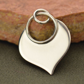 Sterling Silver Lotus Petal Pendant - Flat Plate 22x15mm
