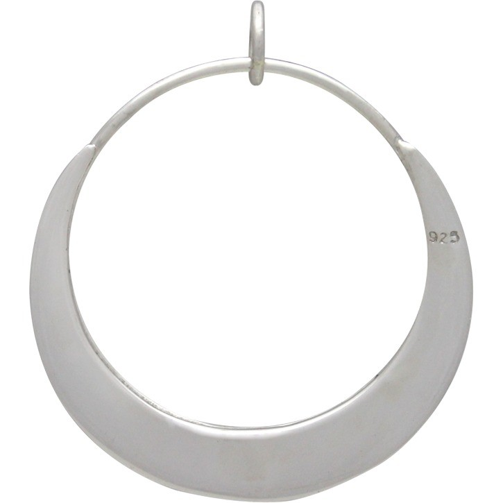 Sterling Silver Circle Pendant - Flat Plate Crescent 31x28mm