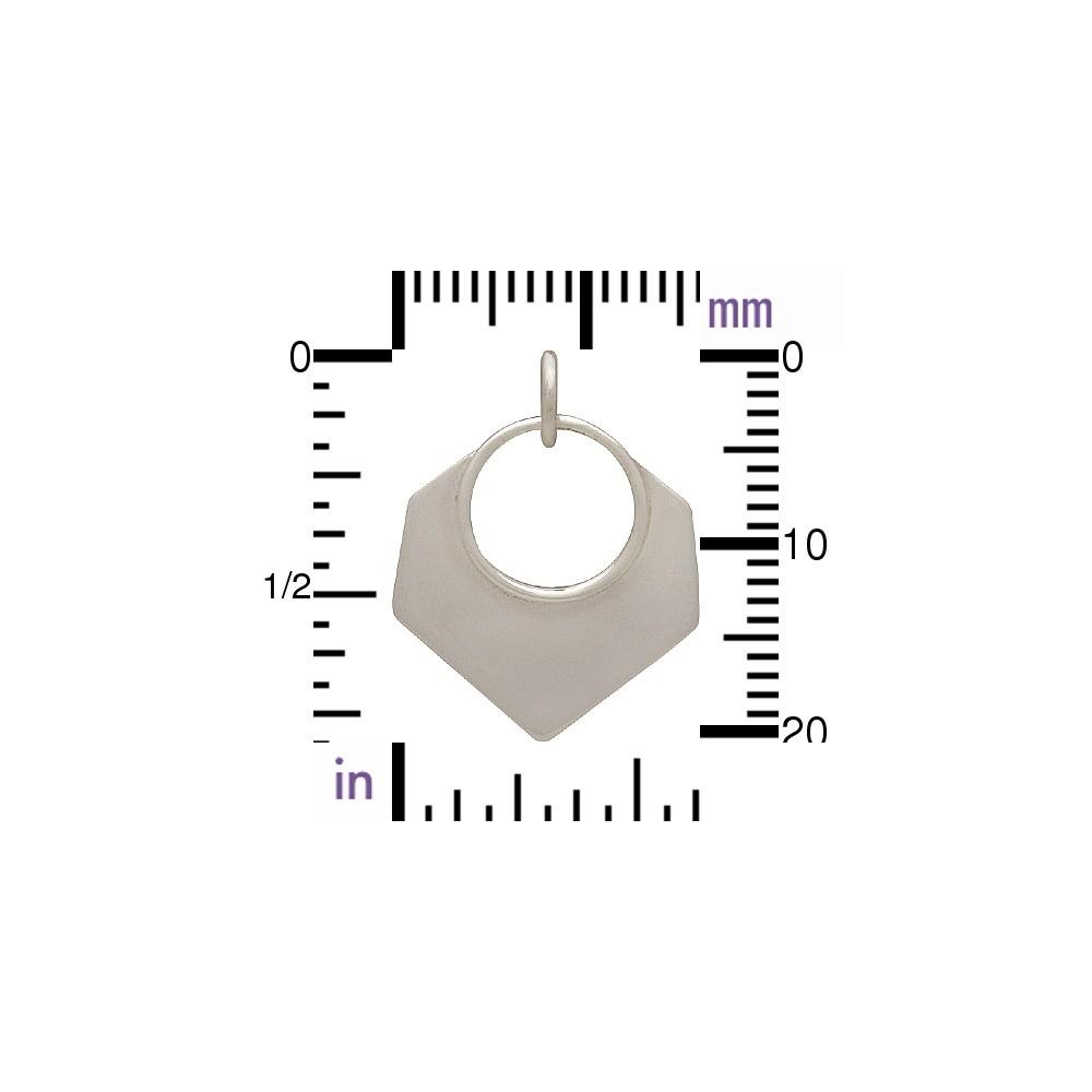 Sterling Silver Geometric Pendant - Hexagon Shape 21x16mm