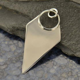 Sterling Silver Long Triangle Pendant 37x18mm