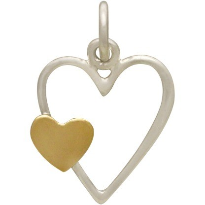 Sterling Silver Open Heart Charm with Bronze Heart 18x12mm