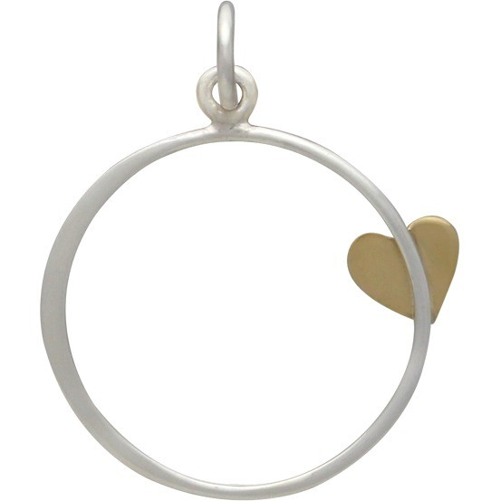 Sterling Silver Open Circle Charm with Bronze Heart 25x20mm