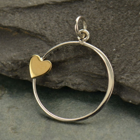 Sterling Silver Open Circle Charm with Bronze Heart