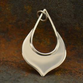 Sterling Silver Lotus Teardrop Pendant - Flat Plate 30x17mm
