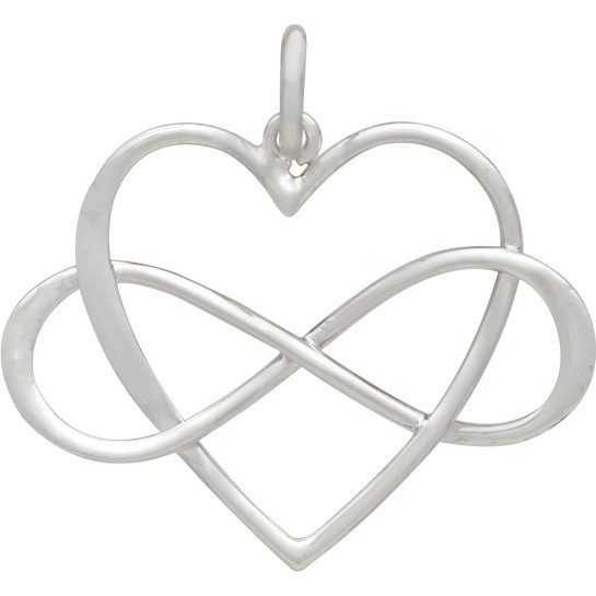 Sterling Silver Infinity Heart Pendant - Large 22x22mm