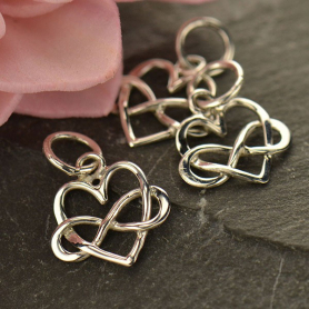 Sterling Silver Infinity Heart Pendant - Tiny 14x10mm