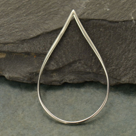 Jewelry Supplies - Large Teardrop Silver Links 43mm 43x26mm