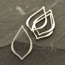 Jewelry Supplies - Small Pointed Teardrop Silver Links