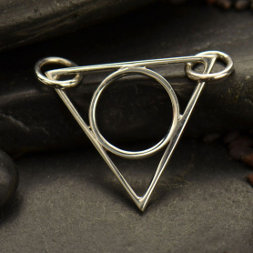 Jewelry Supplies - Circle in Triangle Festoon Silver Pendant