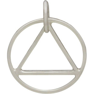Silver Circle Pendant with Triangle in Center 17x14mm