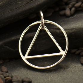 Sterling Silver Geometric Pendant - Triangle in Circle
