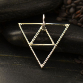 Sterling Silver Geometric Pendant - Triangle Pyramid - Open