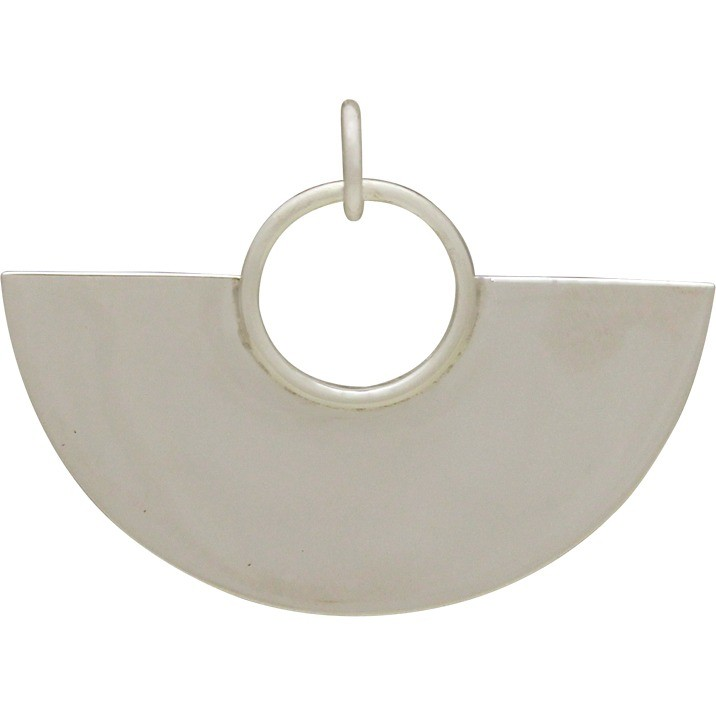 Sterling Silver Geometric Pendant Half Circle Pendant Large