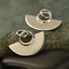 Sterling Silver Small Fan Charm 14x15mm