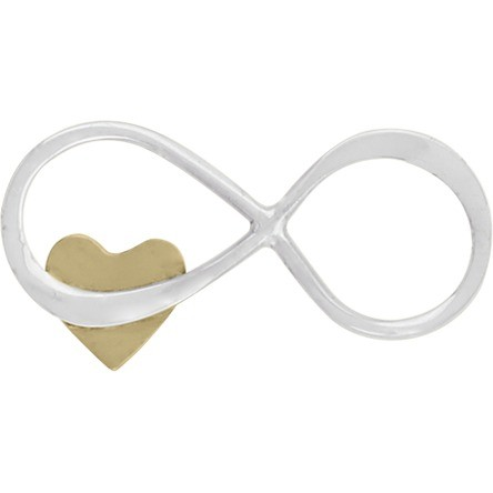 Sterling Silver Infinity Charm with Tiny Bronze Heart 19x9mm
