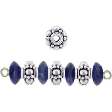 Sterling Silver Spacer Beads with Granulations 7x5mm