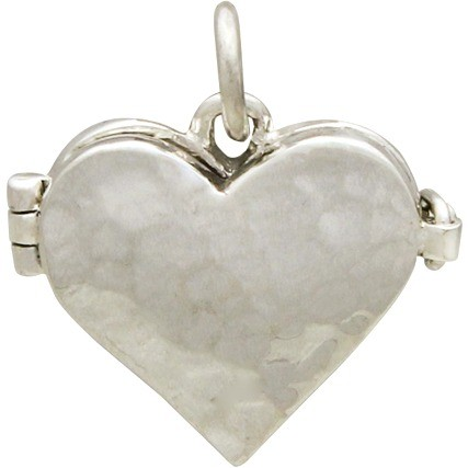 Sterling Silver Heart Locket with Hammered Finish 17x17mm