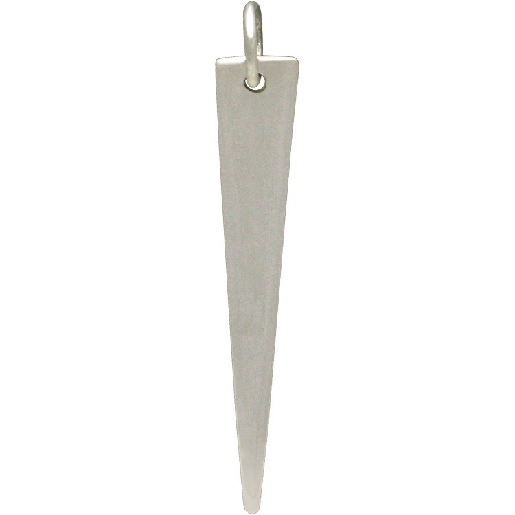 Sterling Silver Long Triangle Pendant 34x5mm